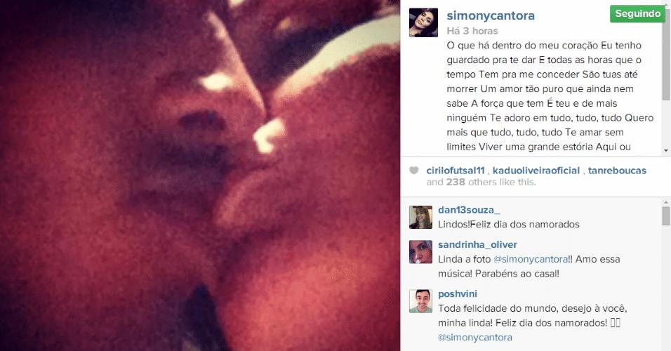 """12.jun.2014 - Simony faz uma declaração de amor para seu namorado Patrick Souza no Instagram. """"Meu amor eu juro ser teu e de mais ninguém"""", escreveu"""