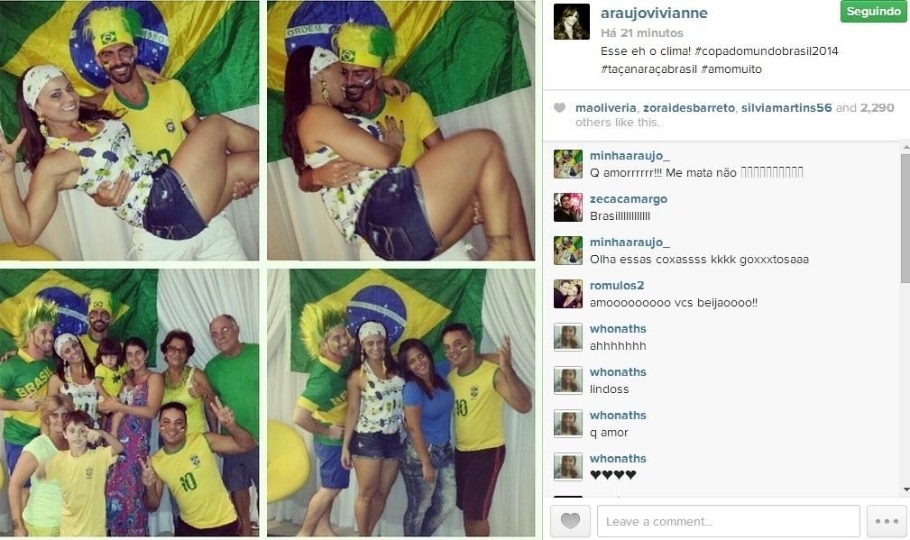 Viviane Araújo assistiu à estreia do Brasil na Copa com amigos, familiares e o namorado Radamés.