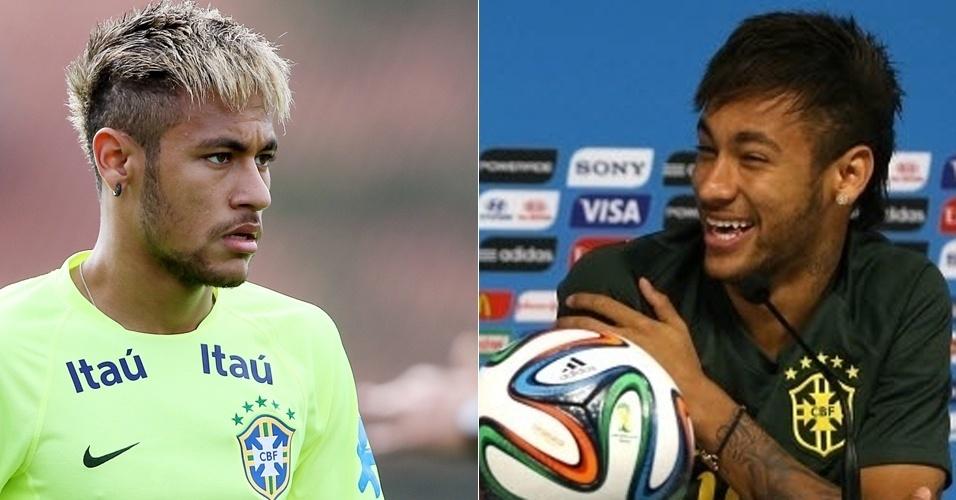 15.jun.2014 - O jogador Neymar apareceu com novo visual em um treino da seleção brasileira de futebol, durante a Copa do Mundo. O corte moicano com franja, sua marca registrada, foi mantido; mas os fios agora estão descoloridos