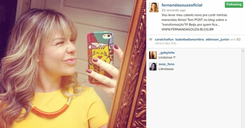17.jun.2014 - Fernanda Souza muda o visual.