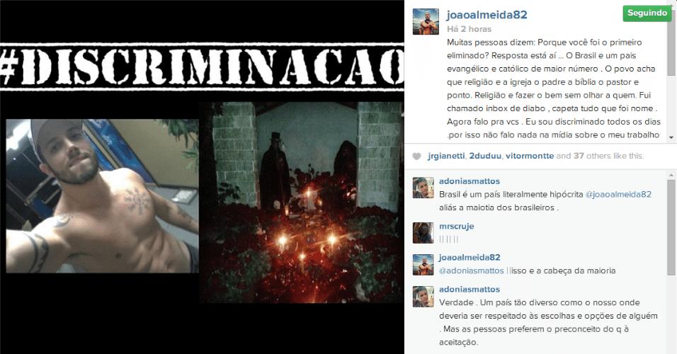 17.jun.2014 - Seis meses depois de ser o primeiro eliminado do Big Brother Brasil 14, o ex-participante João Almeida culpou o público católico e evangélico por ter sido o primeiro eliminado do programa