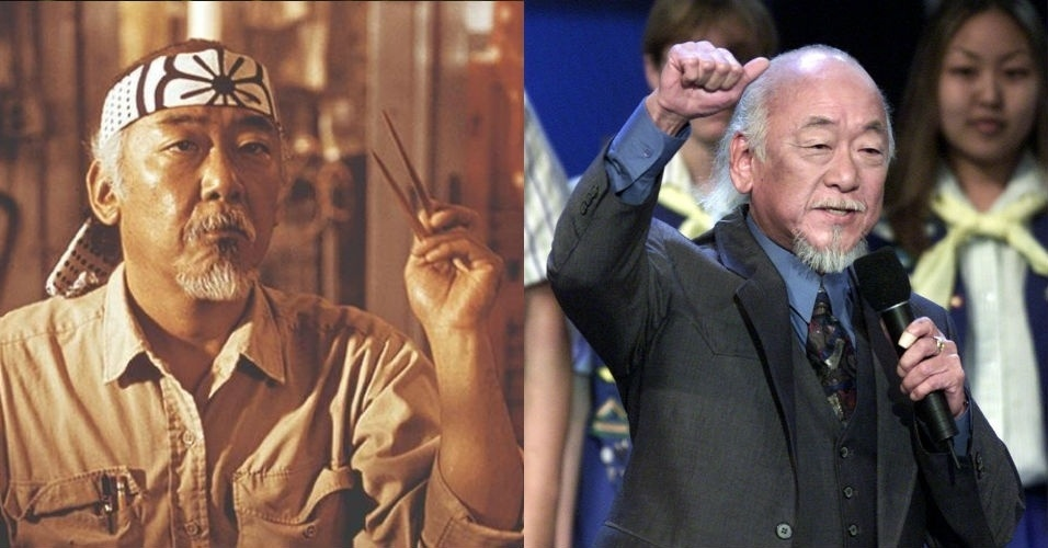 """Pat Morita - Miyagi - Mais lembrado por interpretar o eterno Senhor Miyagi, Pat Morita é um veterano com mais de 160 créditos de atuação e estaria em quatro filmes de """"Karatê Kid"""". Ele morreu de causas naturais em 2005, aos 73 anos, em Las vegas"""