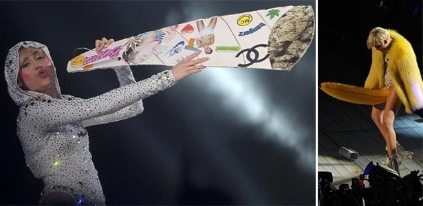 23.jun.2013 - Miley Cyrus apresenta show da Turnê Bangerz em Amsterdã, na Holanda