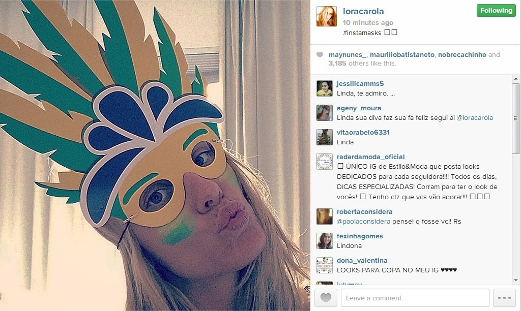 23.jun.2014 - A atriz Carolina Dieckmann postou imagem usando máscara verde e amarela para torcer pelo Brasil contra o time de Camarões pela Copa