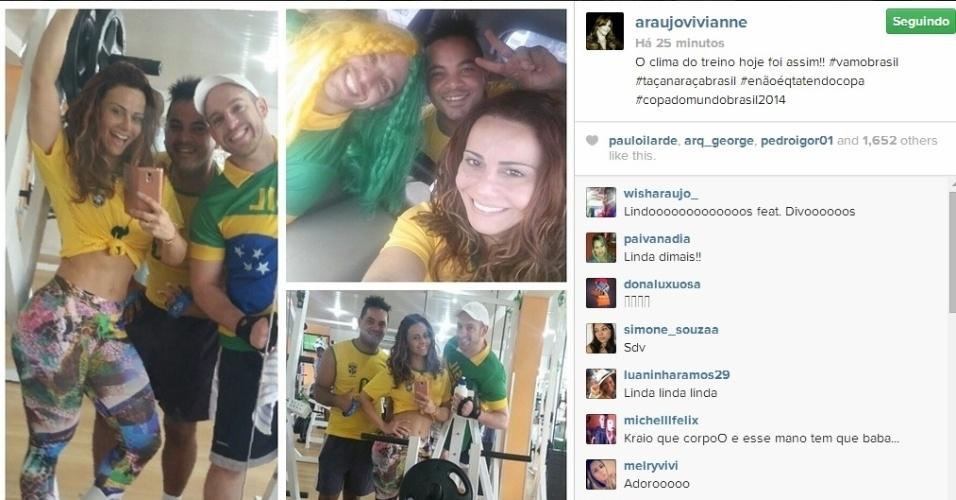 23.jun.2014 - Viviane Araújo treinou em clima de Copa do Mundo horas antes do jogo do Brasil e Camarões.