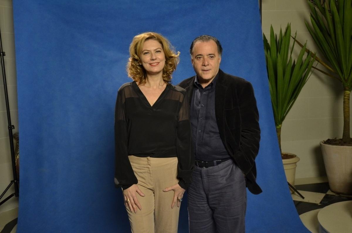 24.jun.2014 - Patrícia Pilar e Tony Ramos posam durante a coletiva de imprensa de