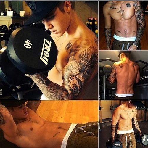 26.jun.2014 - Justin Bieber postou em seu Instagram uma foto em que aparece com o corpo sarado e suas tatuagens em evidência
