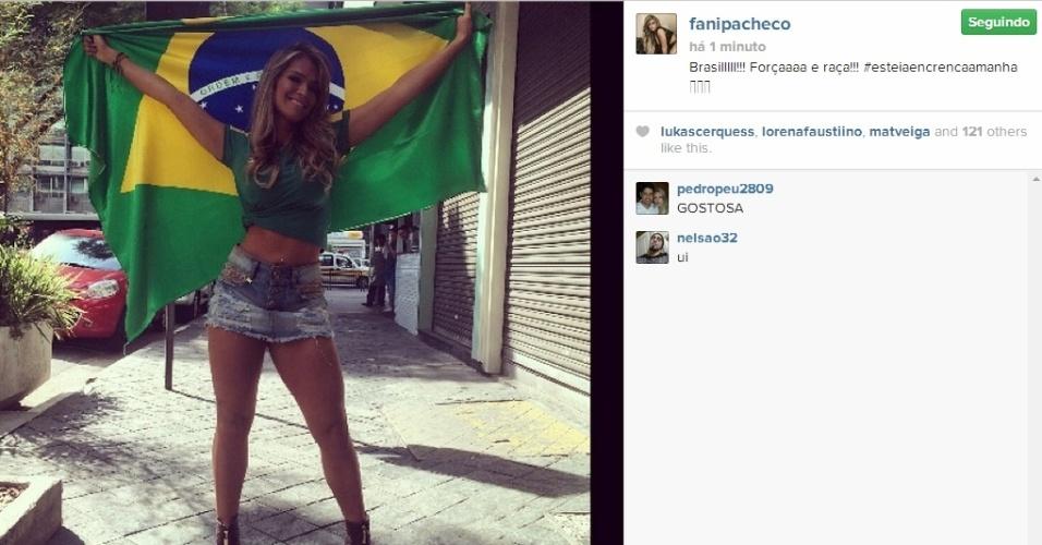 28.jun.2014 - Fani Pacheco mostrou sua torcida pelo Brasil com foto publicada em seu Instagram