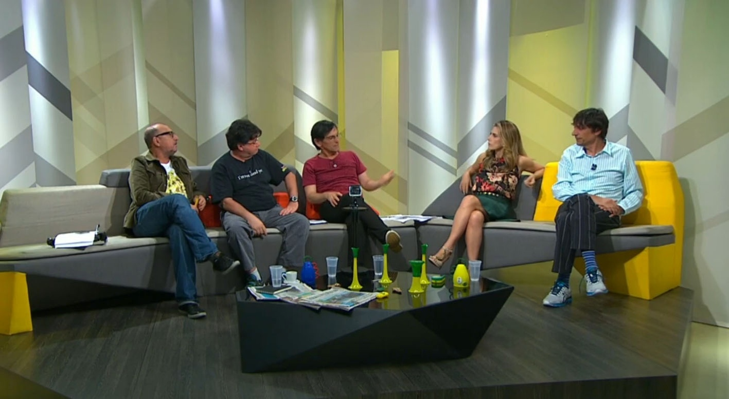 Xico Sá, Marcelo Madureira, Paulo Miklos, Maitê Proença e Eduardo Bueno no