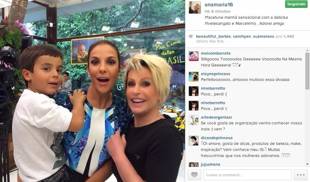 30.jun.2014 - Ana Maria Braga posta foto com Ivete Sangalo e o filho da cantora, Marcelo, em seu Instagram.