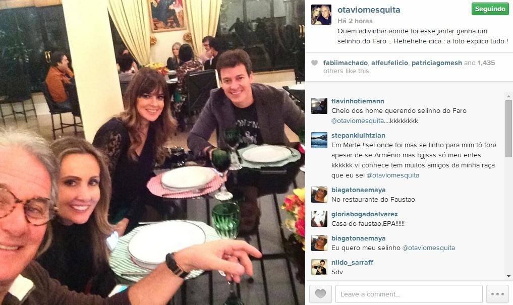 2.jul.2014 - Rodrigo Faro e Otávio Mesquita aproveitaram a descontração em um jantar na casa do Faustão para registrarem o momento com uma foto selfie.