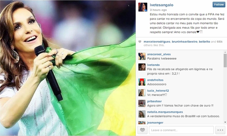3.jul.2014 - Ivete Sangalo publicou no Instagram mensagem se dizendo