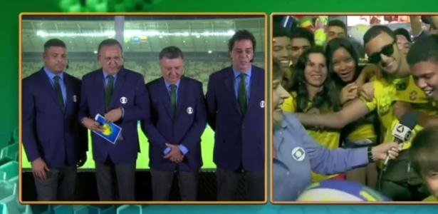 Galvão Bueno se irrita com torcedor ao vivo; na imagem, momento em que o rapaz é entrevistado
