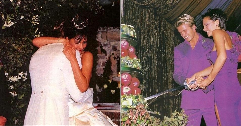 4.jun.2014 - Victoria Beckham comemora 15 anos de casada com o marido, David Beckham. A estilista e ex-Spice Girl compartilhou duas fotos do casamento dos dois - a primeira, à esquerda, é da cerimônia, enquanto a segunda é da recepção.