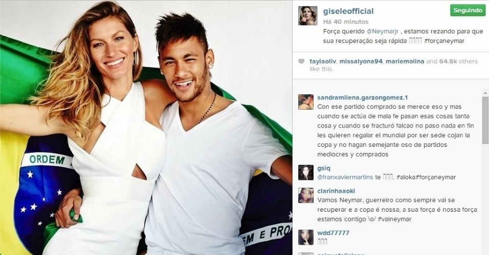 4.jul.2014 - A top model brasileiríssima Gisele Bündchen enviou um recado para Neymar, através de seu Instagram, lhe desejando uma rápida recuperação
