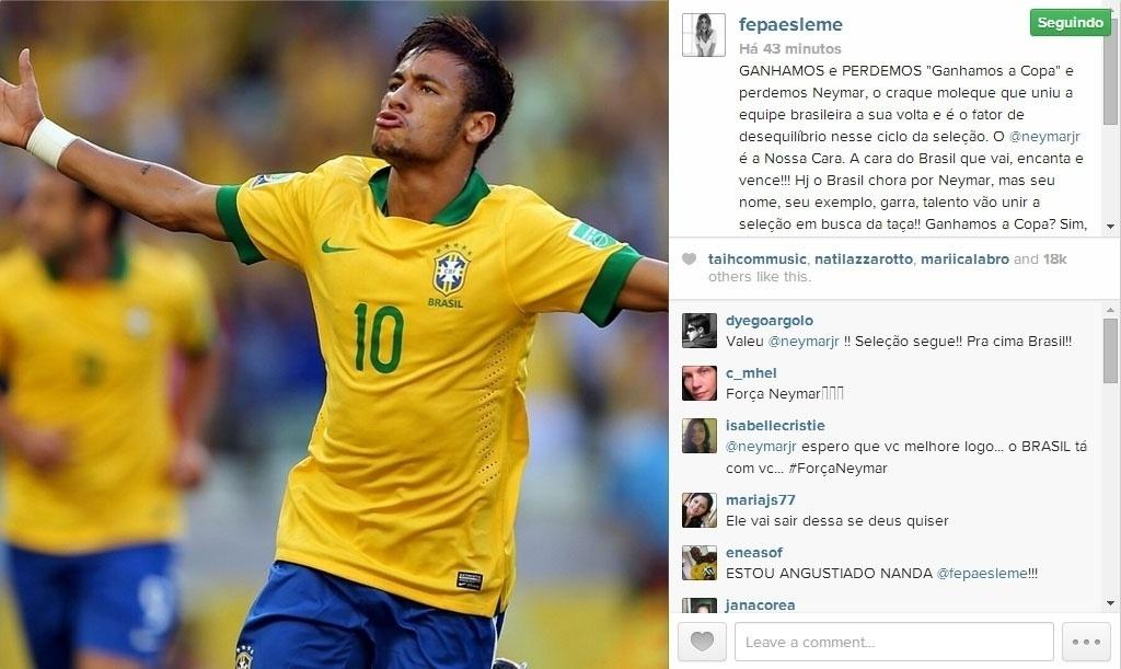 4.jul.2014 - Fernanda Paes Leme, amiga pessoal de Neymar, manda uma mensagem para ele que sofreu uma fratura em uma vértebra durante a partida entre Brasil e Fortaleza pela Copa do Mundo, nesta sexta-feira, em Fortaleza