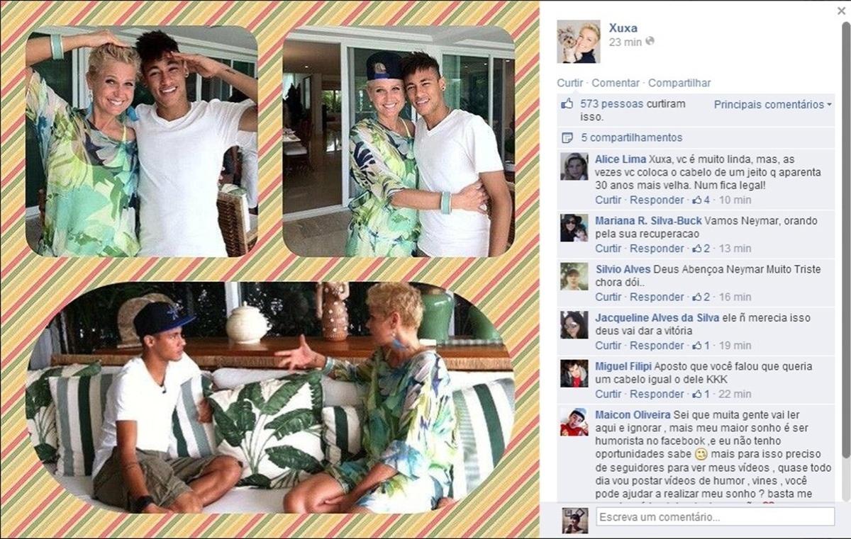 5.jul.2014 - A apresentadora Xuxa mandou sua mensagem de apoio a Neymar pelo Facebook