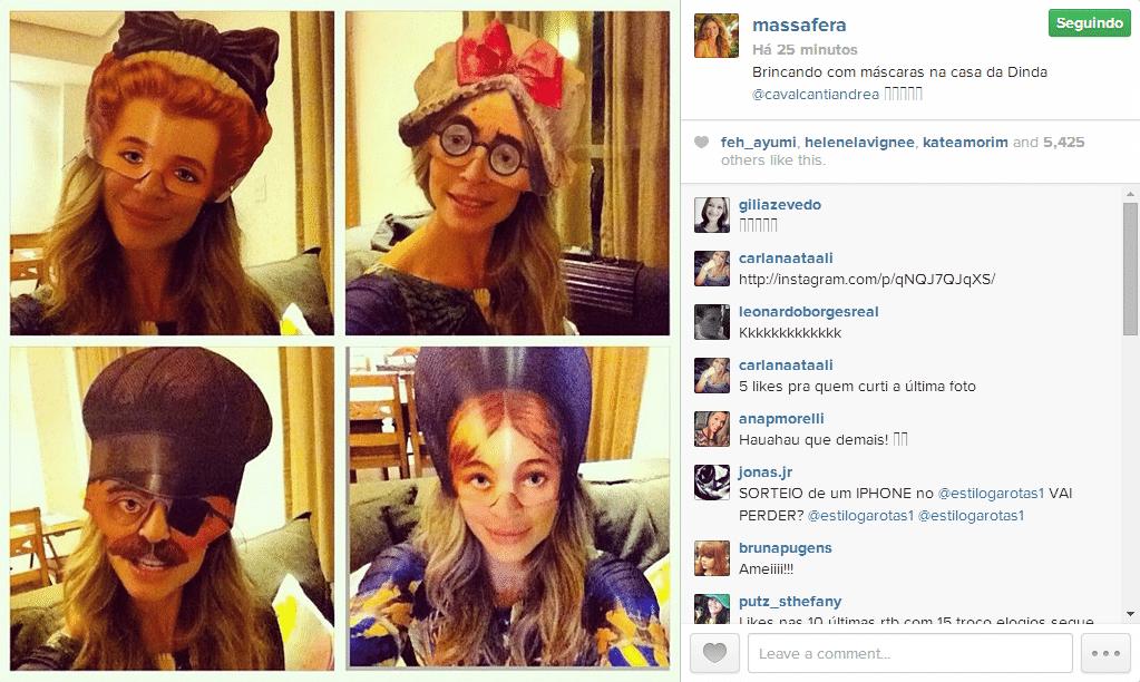 9.jul.2014 - Antes de dormir, Grazi Massafera se diverte fazendo selfies com máscaras diferentes.