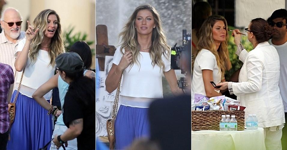 11.jul.2014 - Gisele Bündchen participa sessão de fotos em Miami, na Flórida (Estados Unidos), para uma campanha publicitária. A top brasileira teria faturado U$ 47 milhões nos últimos 12 meses em campanhas
