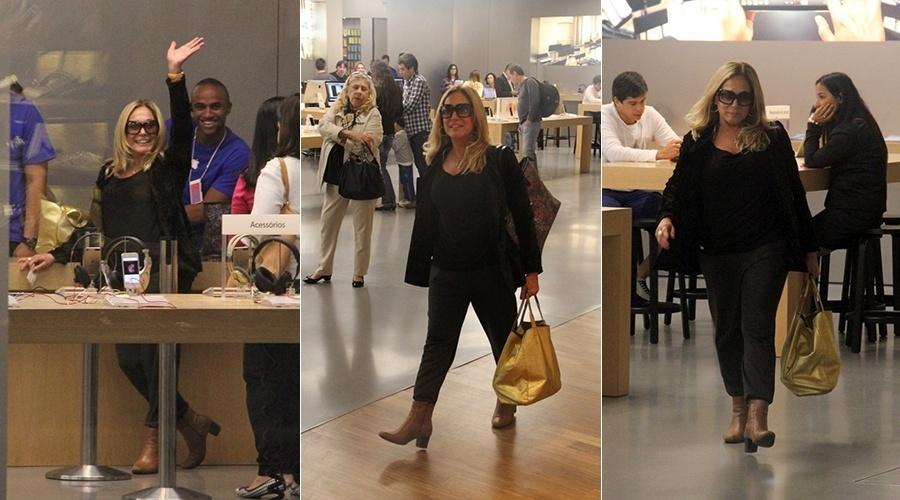 11.jul.2014 - Solteira, Susana Vieira circulou por um shopping da zona oeste do Rio. Bem humorada, a atriz acenou para o paparazzo