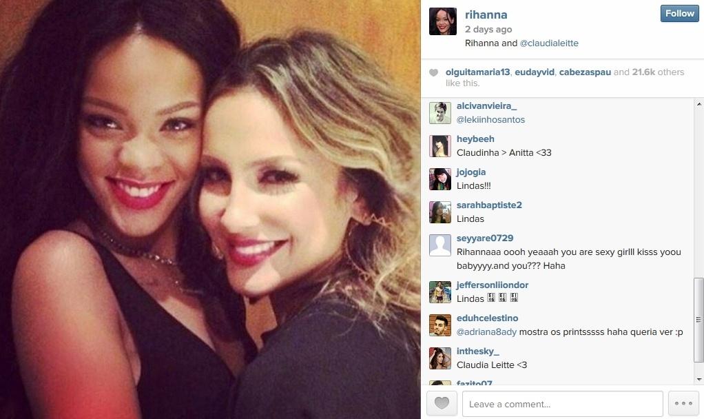 12.jul.2014 - Rihanna posta foto com Claudia Leitte