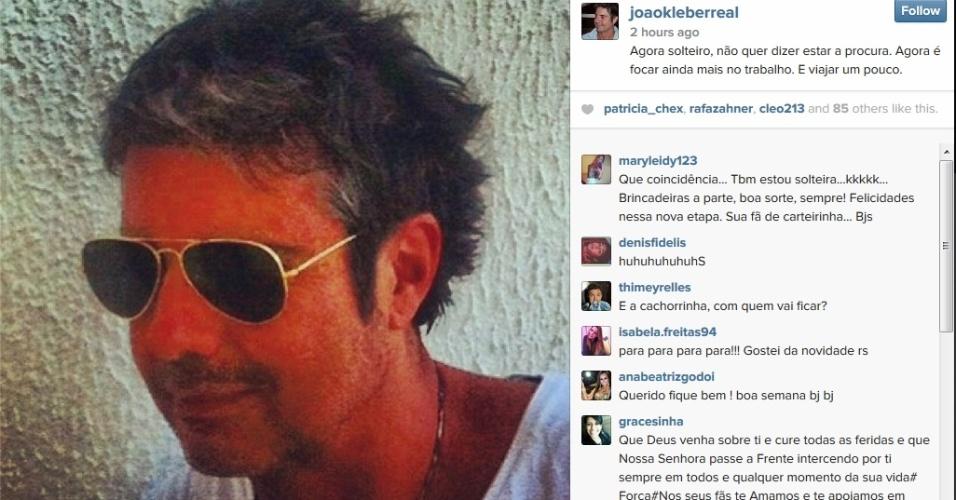 14.jul2014 - João Kléber diz que está solteiro no Instagram