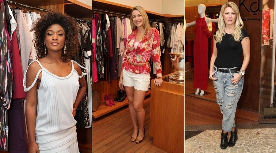 15.jul.2014 - Erika Januza, Luana Piovani e Antonia Fontenelle prestigiaram o lançamento de uma coleção de roupas femininas em uma loja em Ipanema, zona sul do Rio