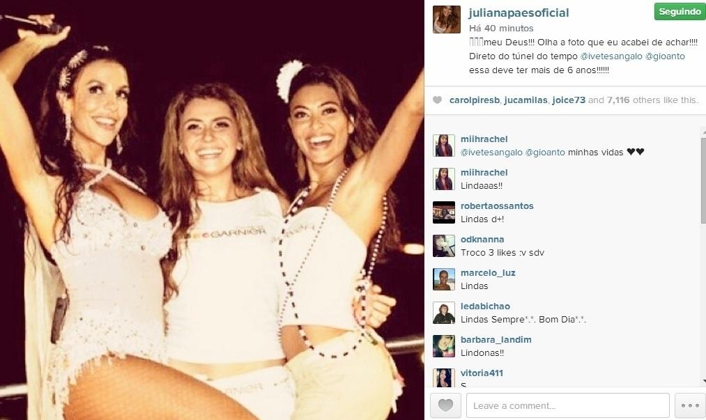 15.jul.2014 - Juliana Paes postou uma foto antiga com Giovanna Antonelli e Ivete Sangalo em seu Instagram.