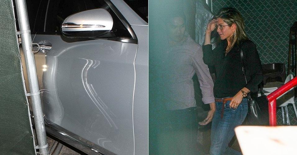 17.jul.2014 - Jennifer Aniston rala a lateral do carro depois de jantar em Los Angeles