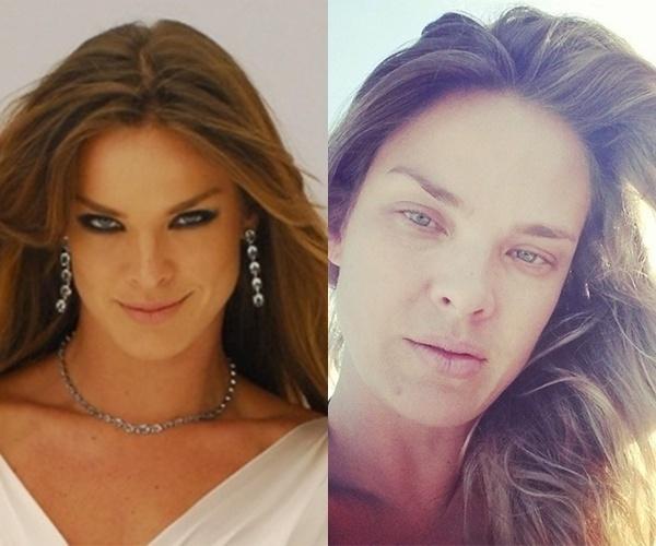 17.jul.2014- Letícia Birkheuer publica foto de cara lavada (à direita) no Instagram. Um internauta chegou a perguntar se a modelo estava cansada. À esquerda, uma imagem de Letícia produzida