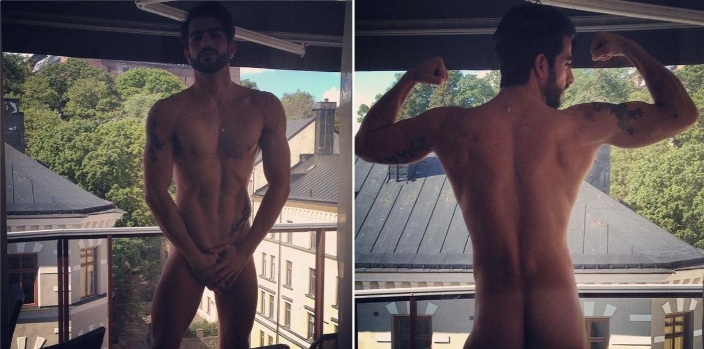 19.jul.2014 - O modelo brasileiro Harry Louis faz fotos pelado próximo a uma janela na cidade de Estocolmo, na Suécia.