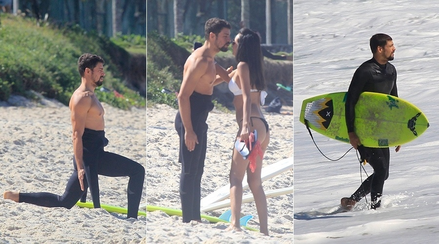 23.jul.2014 - Cauã Reymond aproveitou a quinta-feira para surfar no Rio. O ator foi tietado por uma morena, e simpático, atendeu ao pedido