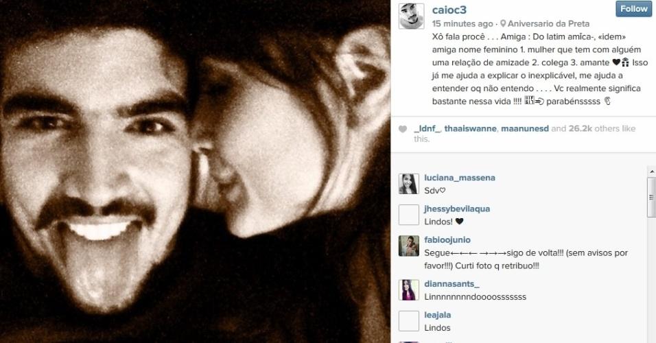 24.jul.2014 - Caio Castro se declarou para Maria Casadevall nesta quinta, dia que a atriz comemora 27 anos