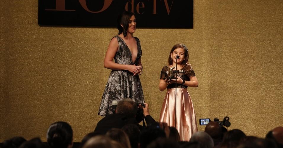 28.jul.2014 - A atriz mirim Mel Maia na 16ª edição do Prêmio Contigo! de TV, realizado no hotel Copacabana Palace, no Rio. Ela foi premiada como Melhor Atriz Infantil