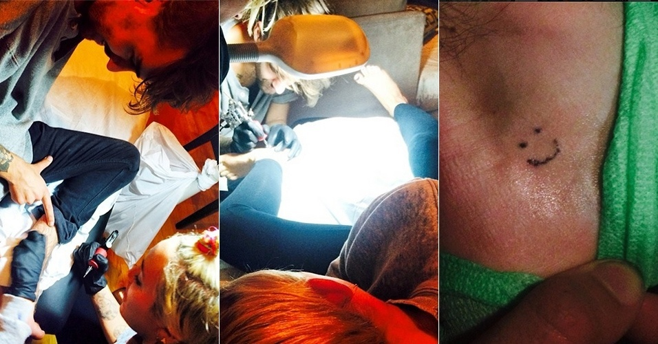 29.jul.2014 - Miley Cyrus tatua e seu amigo Cheyne Thomas fazem tatuagem um no outro