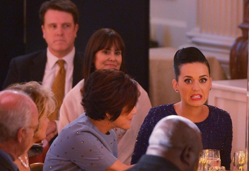 31.jul.2014 - Katy Perry no baile de gala da Fundação Special Olympics na Casa Branca, em Washington, onde foi a artista convidada para se apresentar