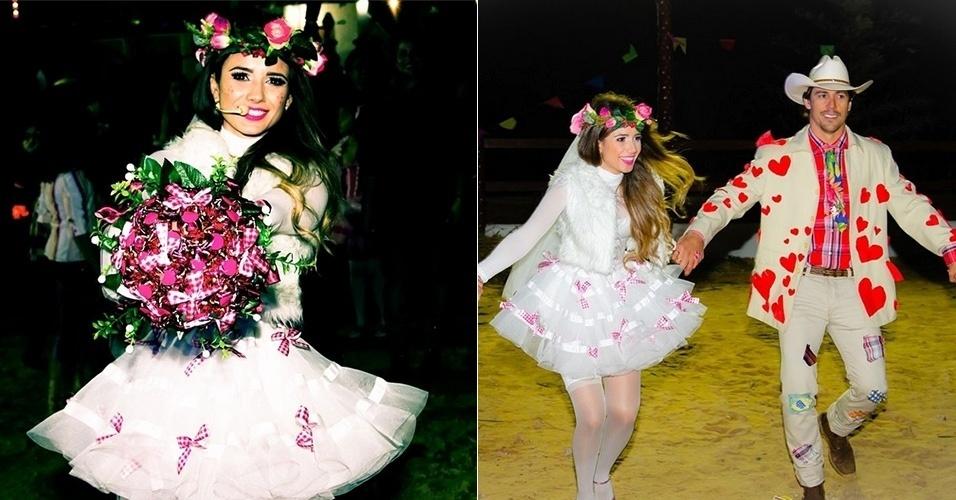 5.ago.2014 - Vestida de noiva, Paula Fernandes curtiu uma festa junina com direito a casamento com o namorado, o dentista Henrique
