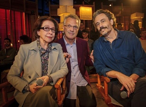 Fernanda Montenegro, Pedro Bial e Guilherme Fiuza