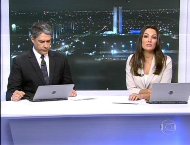 """William Bonner e Patrícia Poeta apresentaram o """"Jornal Nacional"""" de Brasília"""
