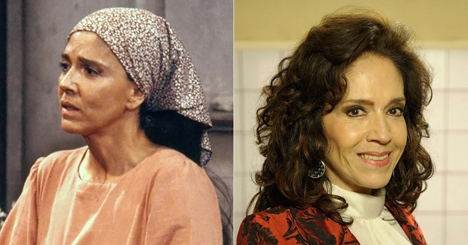 """Yoná Magalhães era Tonha, mãe da personagem de Tássia Camargo. Após """"Tieta"""", atuou em """"Meu Bem, Meu Mal"""", """"Despedida de Solteiro"""", """"Era uma Ves"""", entre outras na década de 1990. Sua última novela foi em """"Sangue Bom"""" (2013"""", como a personagem Glória Pais"""