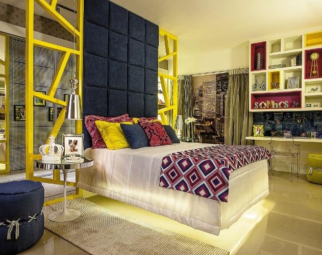 Paredes com cor e textura marcam salas, quartos e  ~ Quarto Rosa Azul E Amarelo