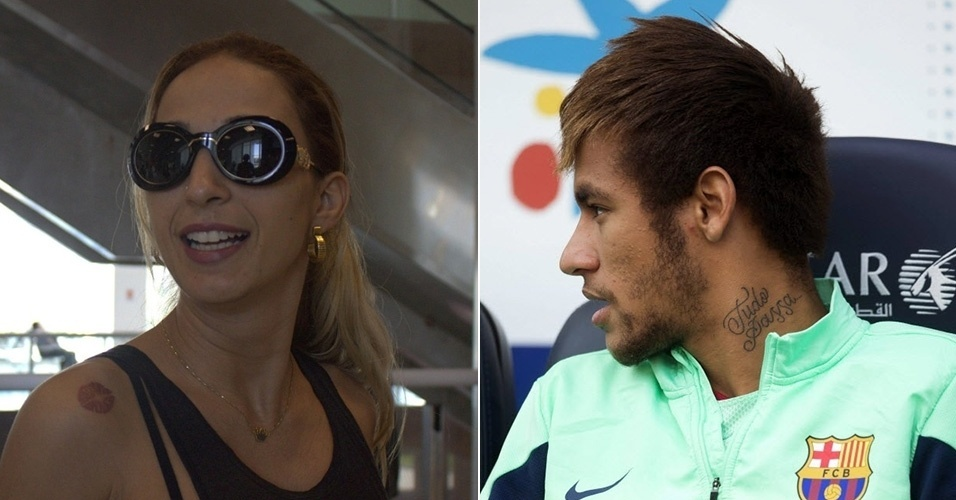15.ago.2014 - Valesca Popozuda exibe marca de beijo tatuada no ombro e Neymar mosta a frase