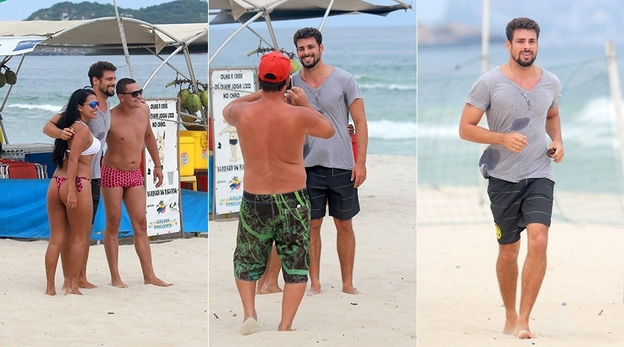 19.ago.2014 - Cauã Reymond foi tietado na praia da Barra da Tijuca, zona oeste do Rio. O ator interrompeu sua corrida na areia para tirar fotos com os fãs