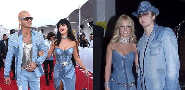 No VMA, Katy Perry e o rapper Riff Raff fizeram uma homenagem ao look de Britney Spears e Justin Timberlake no American Music Awards de 2001