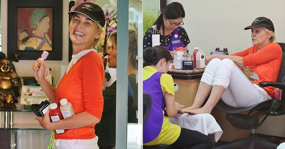 27.ago.2014 - Sharon Stone foi flagrada bem à vontade em um salão de beleza em Los Angeles, nos Estados Unidos. Sem maquiagem e usando um boné, a atriz, de 56 anos, escolheu o esmalte, tirou os sapatos e pegou uma revista de celebridades para folhear enquanto fazia as unhas. Ao perceber o paparazzo, sorriu para as fotos
