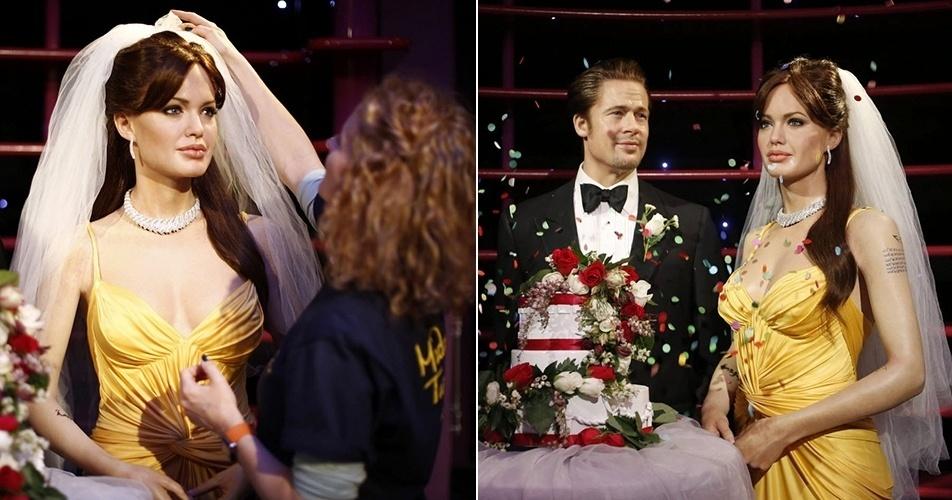 29.ago.2014 - Os bonecos de cera de Angelina Jolie e Brad Pitt  no Madame Tussauds de Sydney, na Austrália, ganharam uma festa de casamento. O museu
