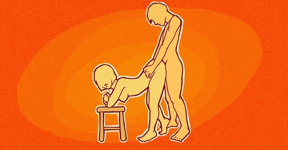 A mulher apoia os cotovelos em um banquinho e empina o bumbum para trás, mantendo as pernas esticadas. O homem, de pé, fará a penetração por trás. Dessa maneira, ele assume o controle do movimento e pode aprofundar a penetração, para aumentar o seu prazer. Se a mulher quiser, e tiver flexibilidade, também pode curvar o corpo para aproximar os seios das pernas e aumentar a intensidade da penetração