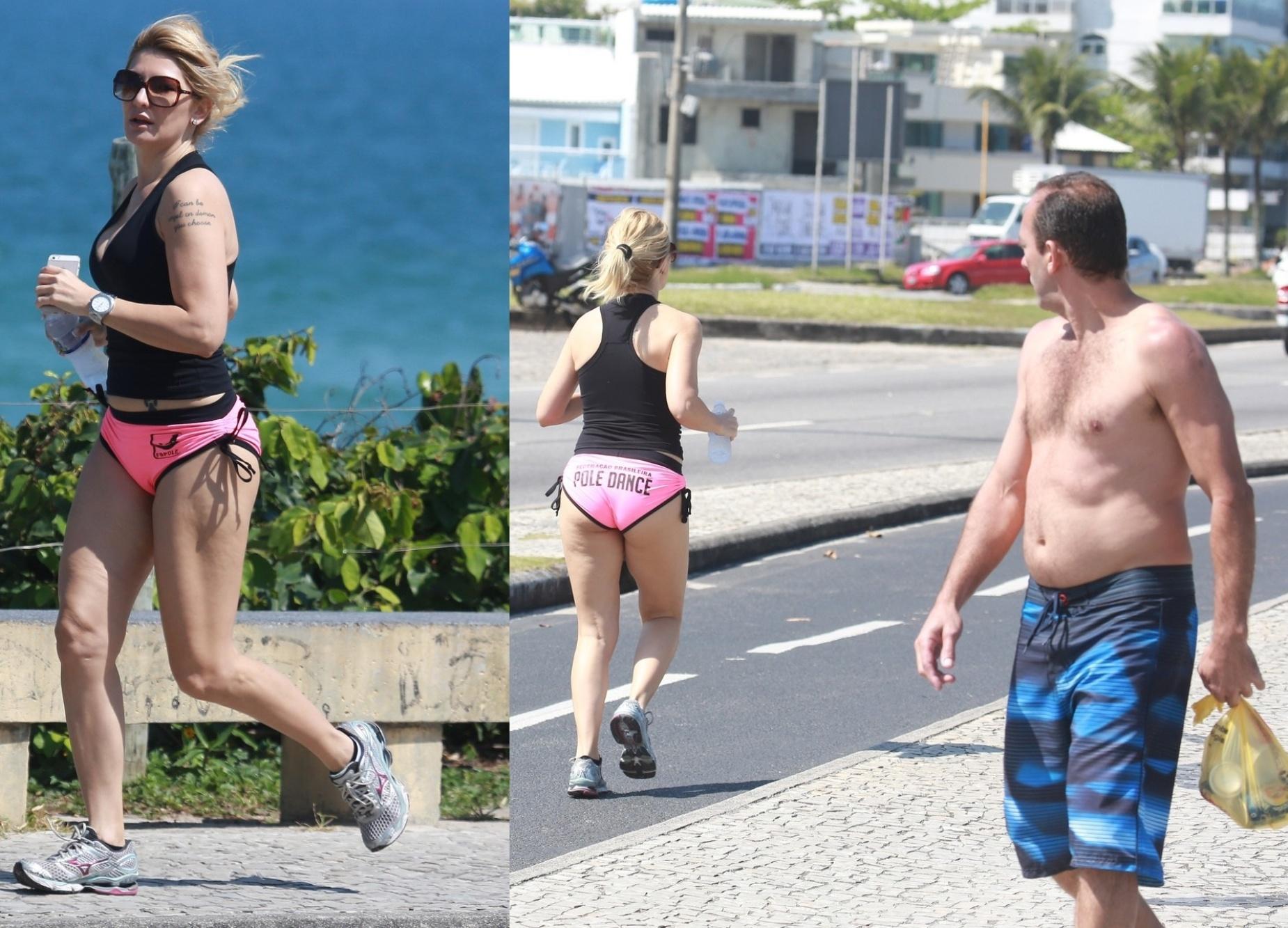 02.set.2014- Antonia Fontenelle corre na praia da Barra da Tijuca, no Rio, com microshort e recebe olhada indiscreta