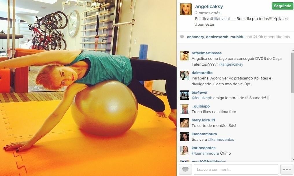 Angélica é adepta do pilates para manter os músculos fortes e flexíveis