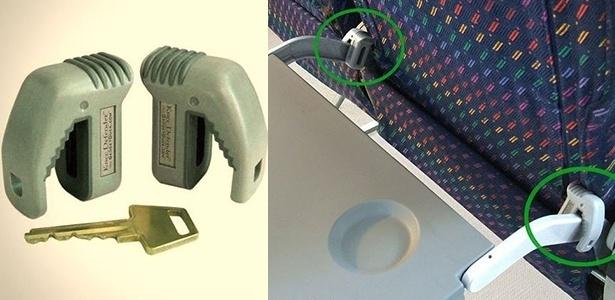 """O """"defensor de joelho"""" impede que os assentos das aeronaves sejam reclinados"""